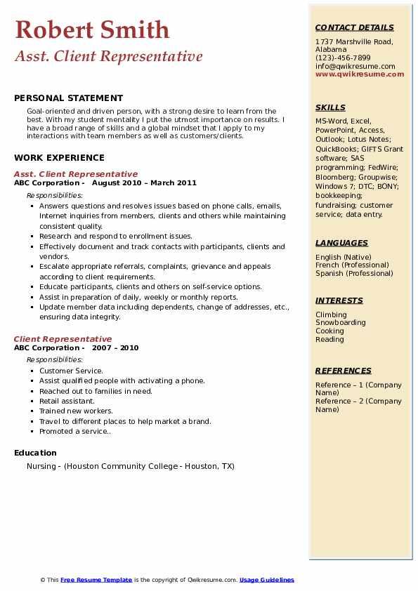 Asst. Client Representative Resume Model