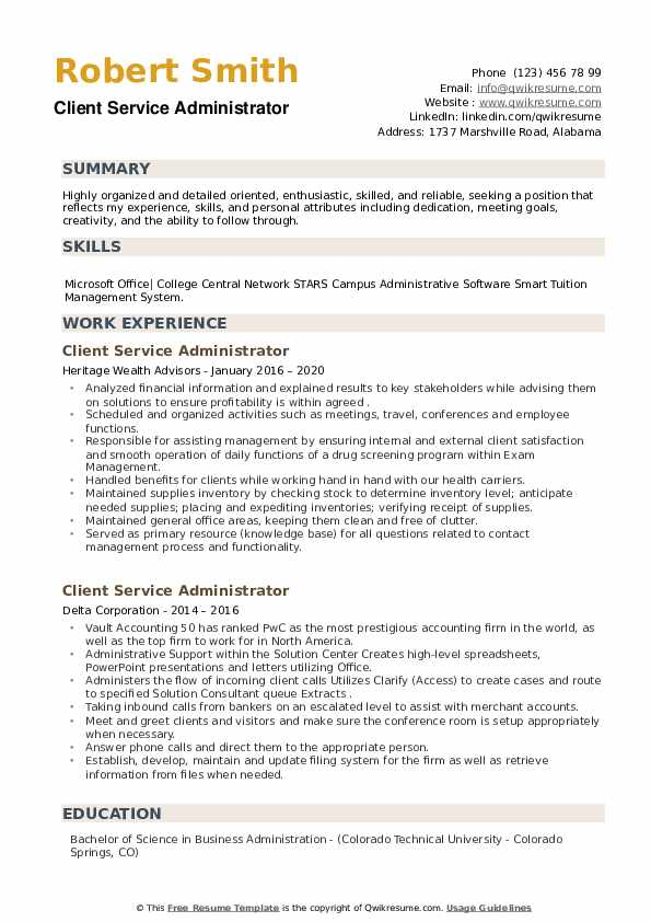 Client Service Administrator Resume example