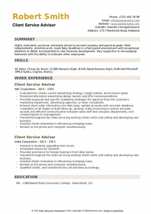 Client Service Advisor Resume example
