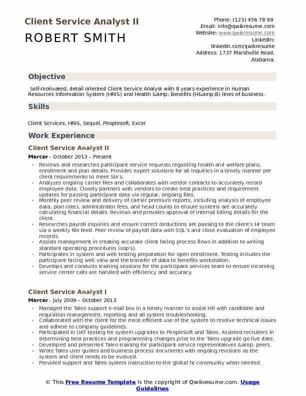 client service analyst resume samples qwikresume
