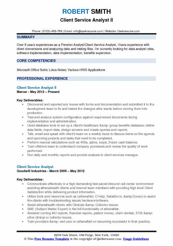 Client Service Analyst II Resume Template