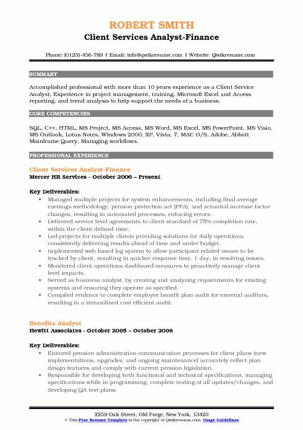 client service analyst resume samples