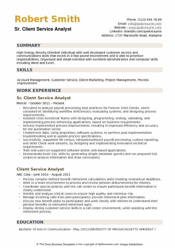 client service analyst resume example