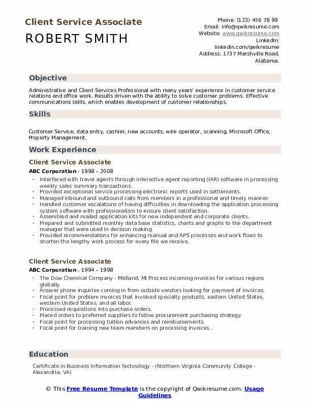 Client Service Associate Resume Sample
