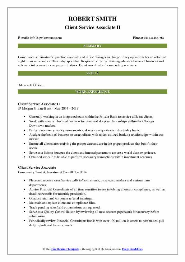Client Service Associate II Resume Example