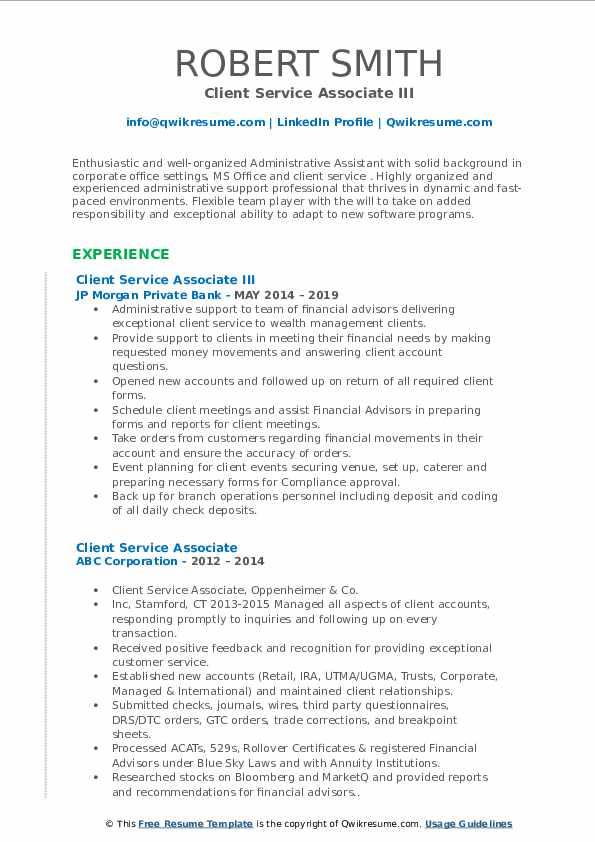 Client Service Associate III Resume Example