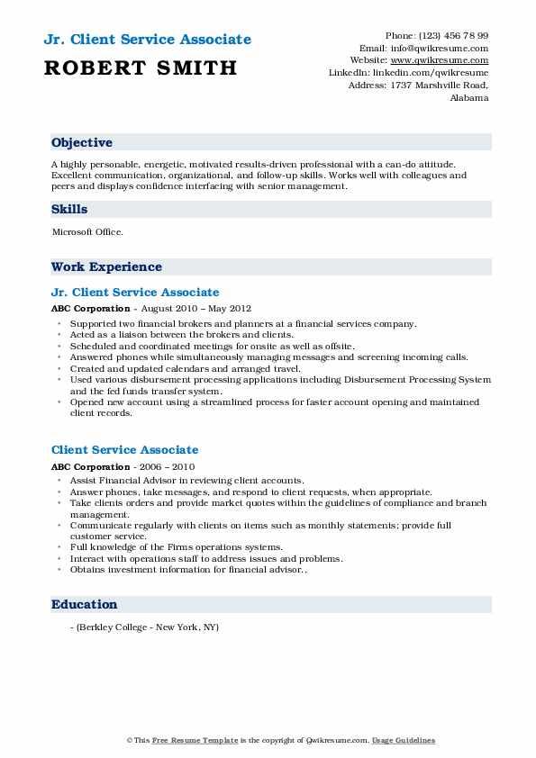 Jr. Client Service Associate Resume Example