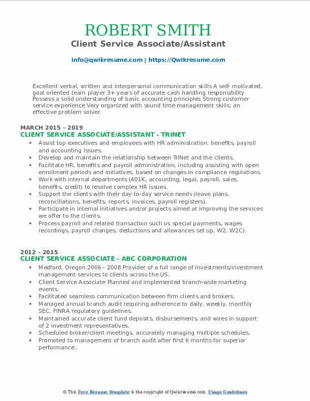 Client Service Associate/Assistant Resume Model