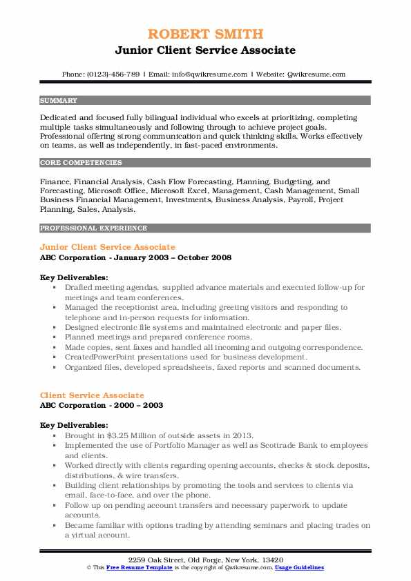 Junior Client Service Associate Resume Model