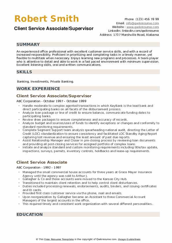 Client Service Associate/Supervisor Resume Sample