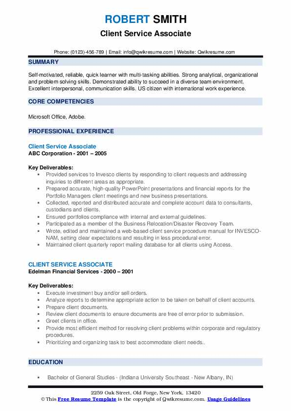 Client Service Associate Resume example