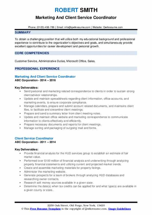 Marketing And Client Service Coordinator Resume Format
