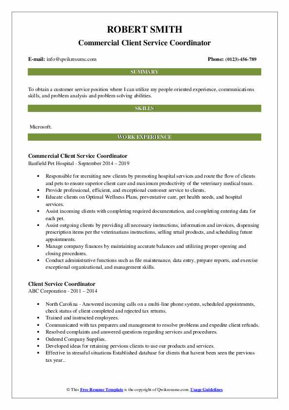 Commercial Client Service Coordinator Resume Model