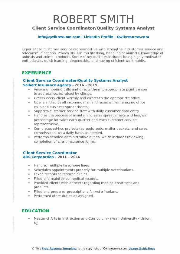 Client Service Coordinator/Quality Systems Analyst Resume Format