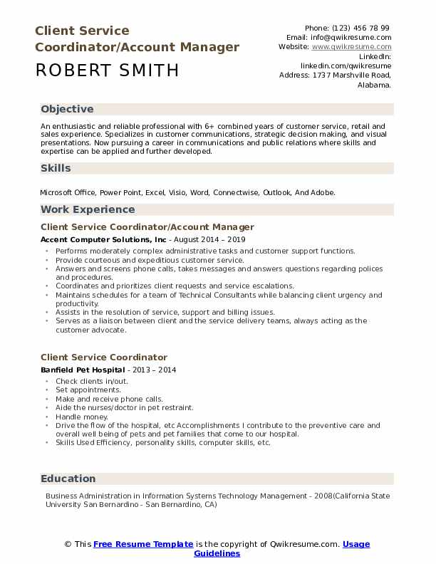 Client Service Coordinator/Account Manager Resume Model