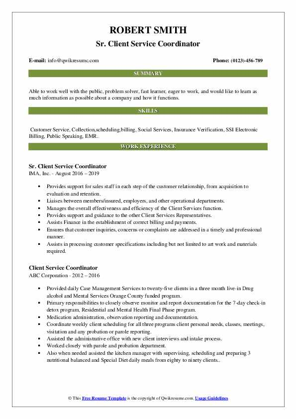 Sr. Client Service Coordinator Resume Example