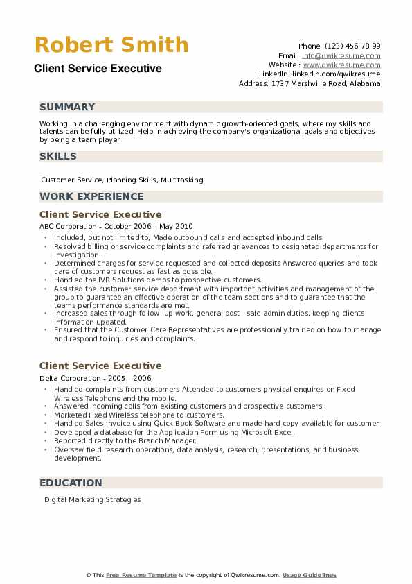 Client Service Executive Resume example