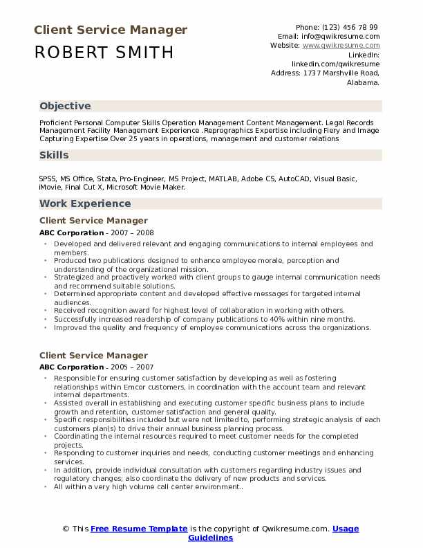 Client Service Manager Resume Samples | QwikResume