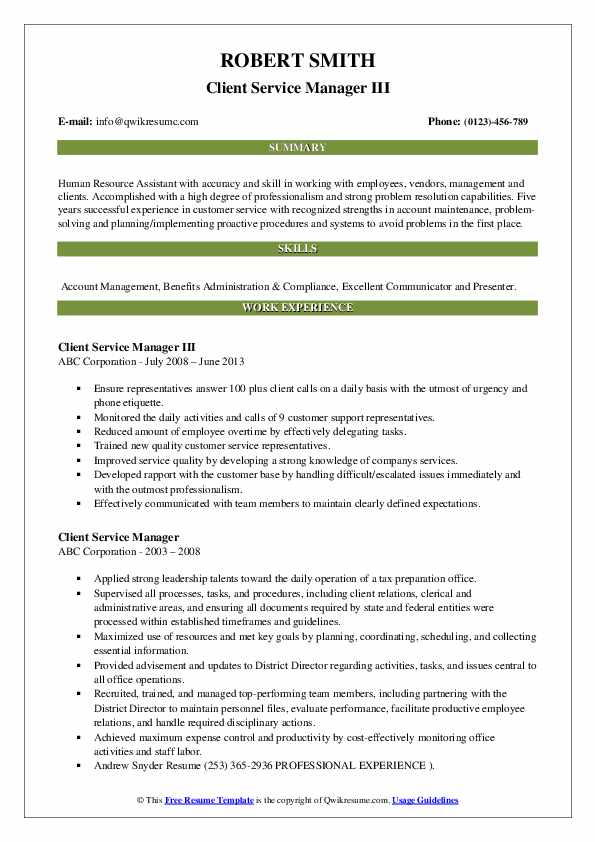 Client Service Manager III Resume Format