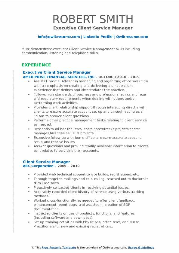 Executive Client Service Manager Resume Example