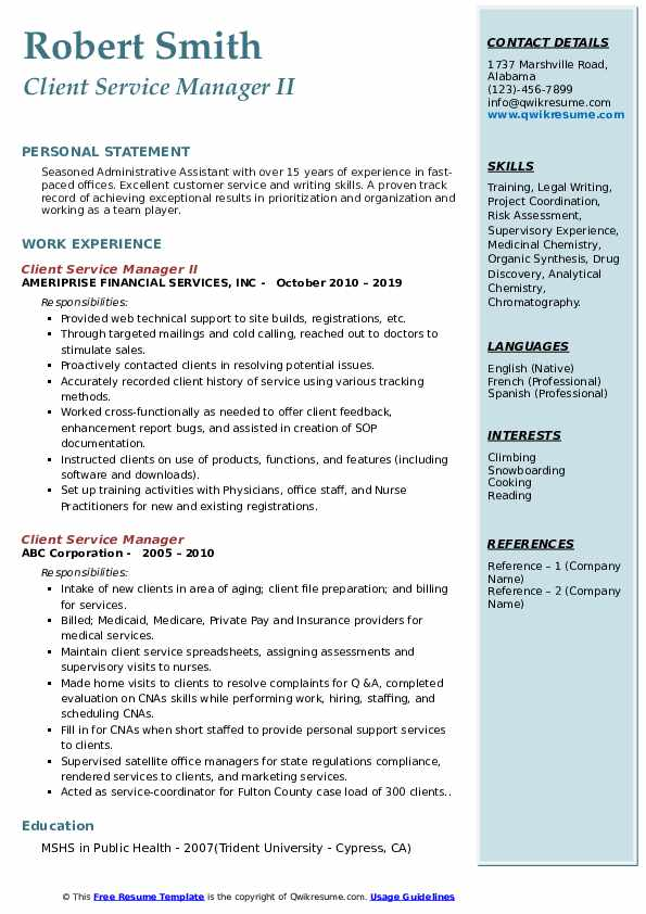 Client Service Manager II Resume Model