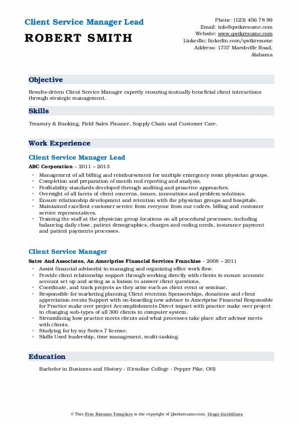 Client Service Manager Lead Resume Model