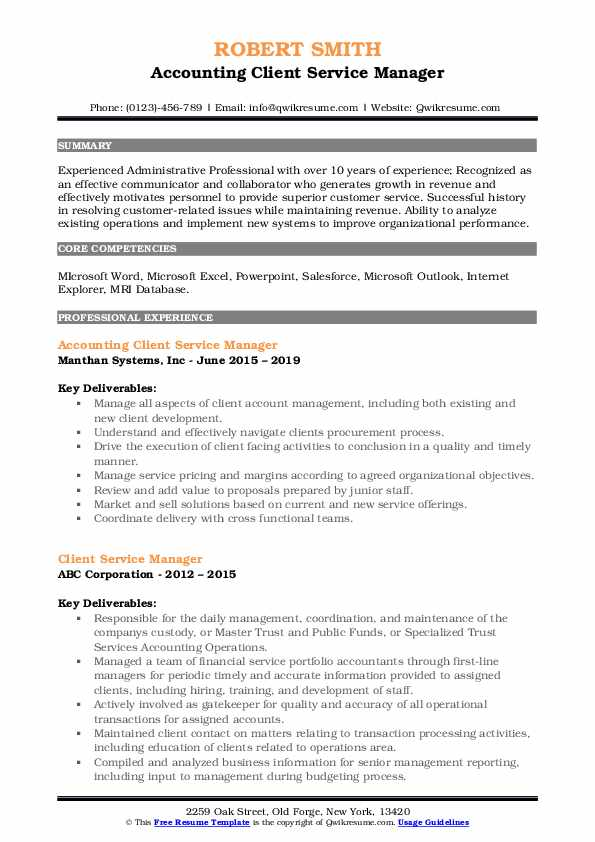 Accounting Client Service Manager Resume Sample