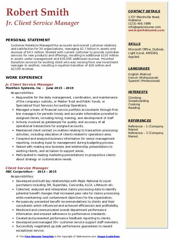Jr. Client Service Manager Resume Template