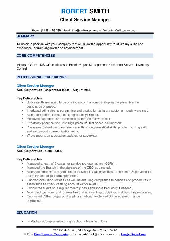 Client Service Manager Resume example