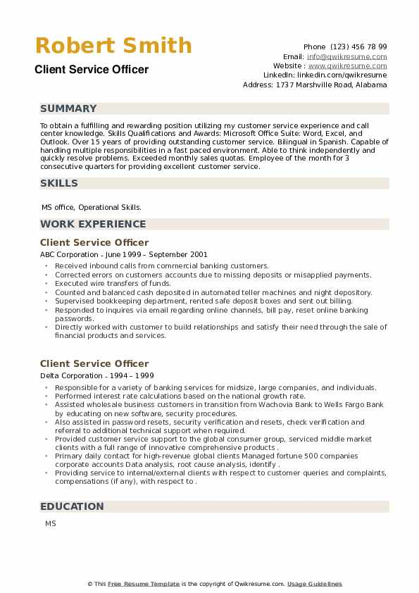Client Service Officer Resume example