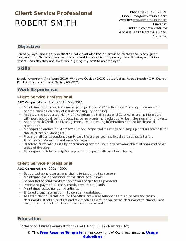 Client Service Professional Resume Format