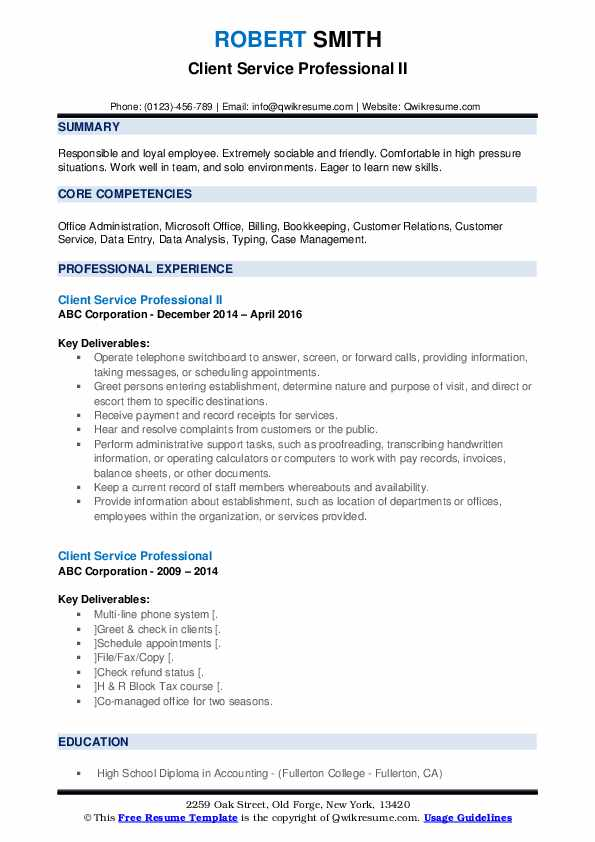 Client Service Professional II Resume Format