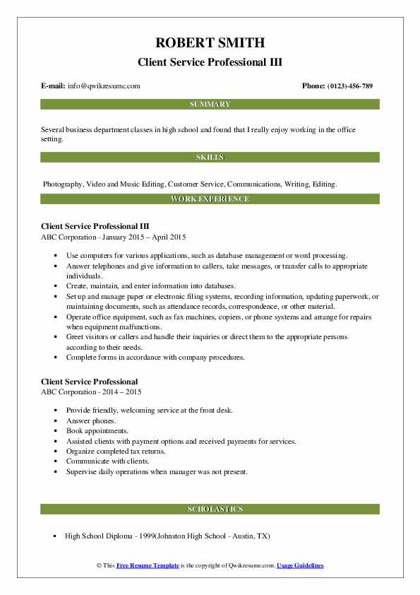 Client Service Professional III Resume Sample