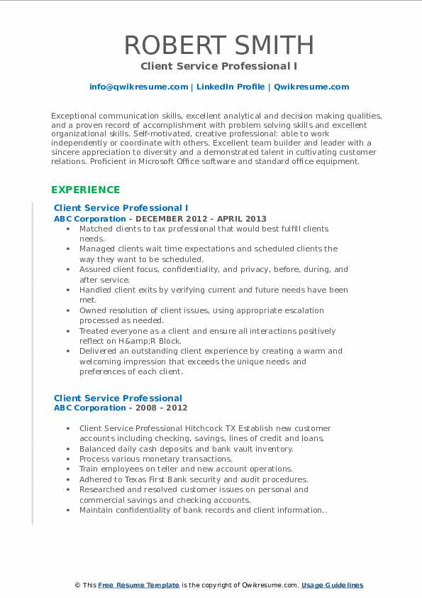 Client Service Professional I Resume Template