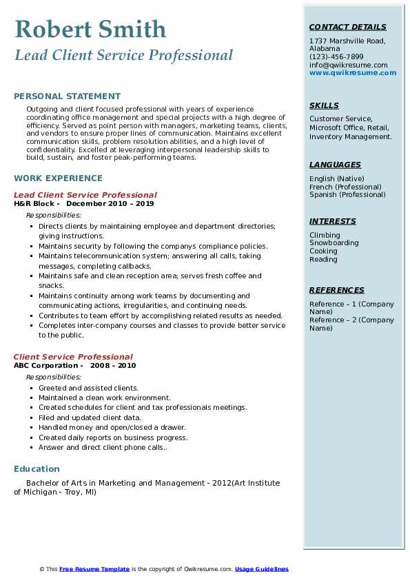 Lead Client Service Professional Resume Sample