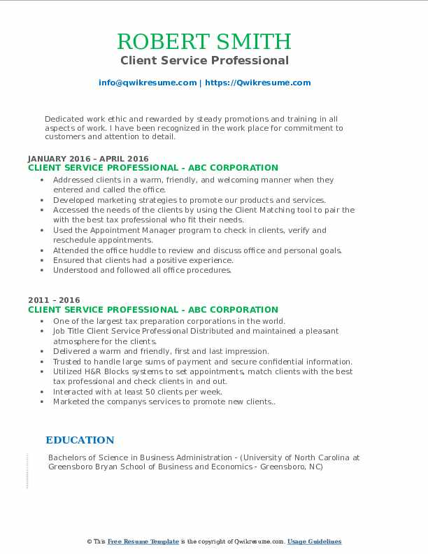 Client Service Professional Resume Model