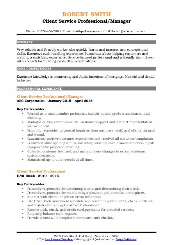 Client Service Professional/Manager Resume Sample