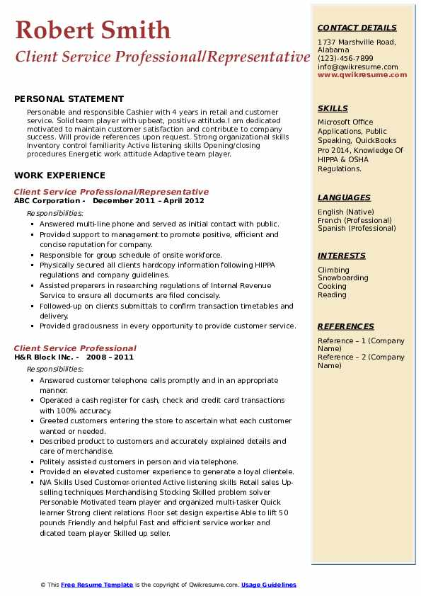 Client Service Professional/Representative Resume Format