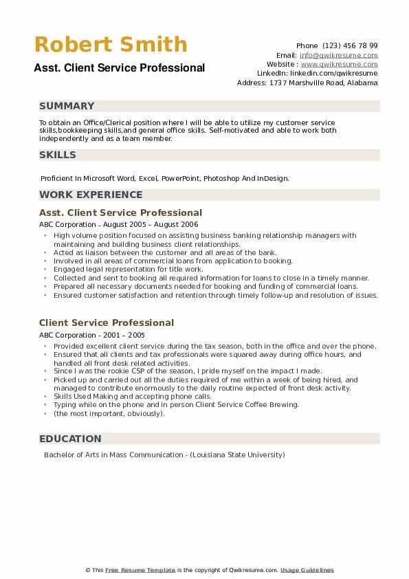 Asst. Client Service Professional Resume Template
