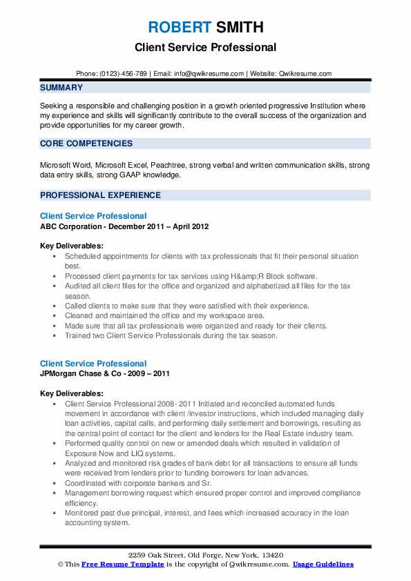 Client Service Professional Resume example