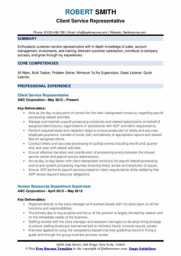 Client Service Representative Resume Template
