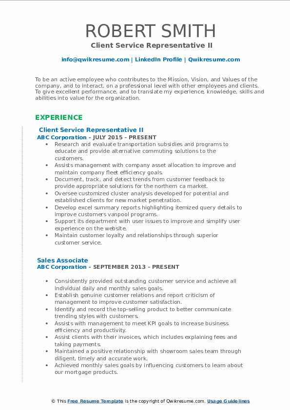 Client Service Representative II Resume Sample