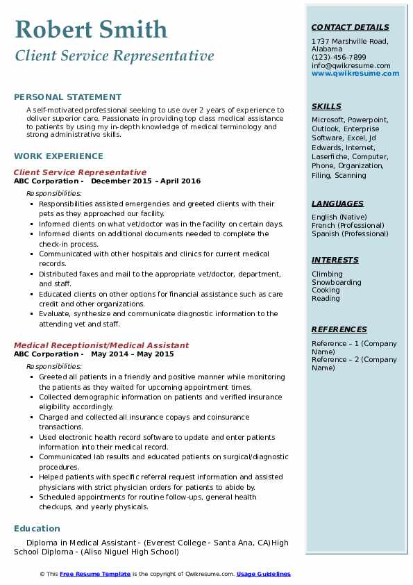 Client Service Representative Resume Model