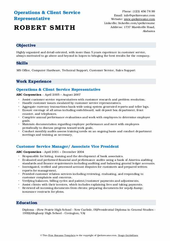 Operations & Client Service Representative Resume Example