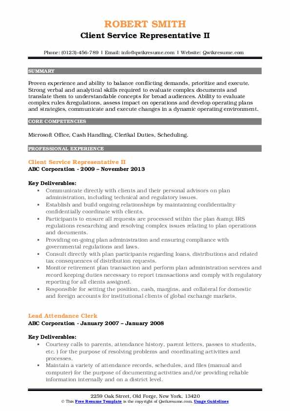 Client Service Representative II Resume Model