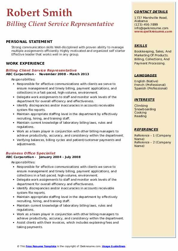 Billing Client Service Representative Resume Model