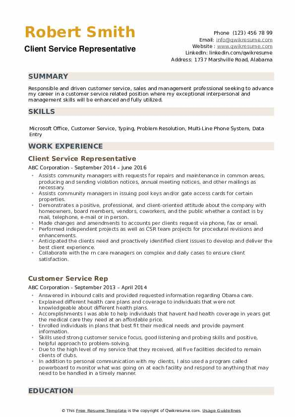 Client Service Representative Resume Model