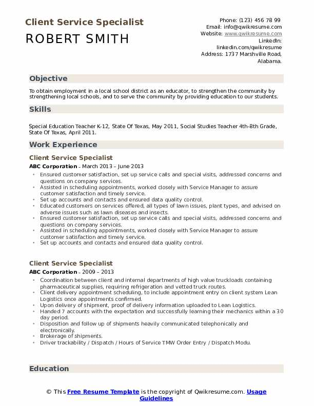 Client Service Specialist Resume Sample