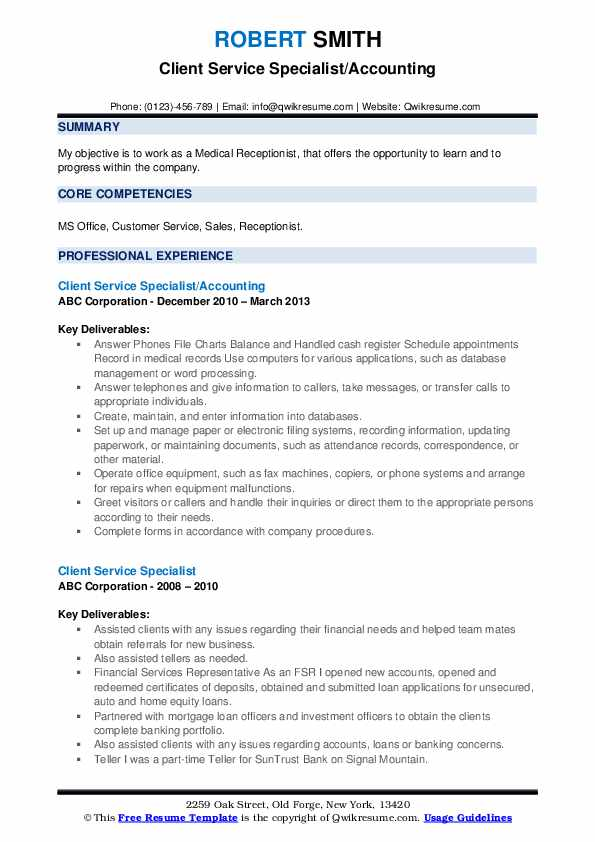 Client Service Specialist/Accounting Resume Sample