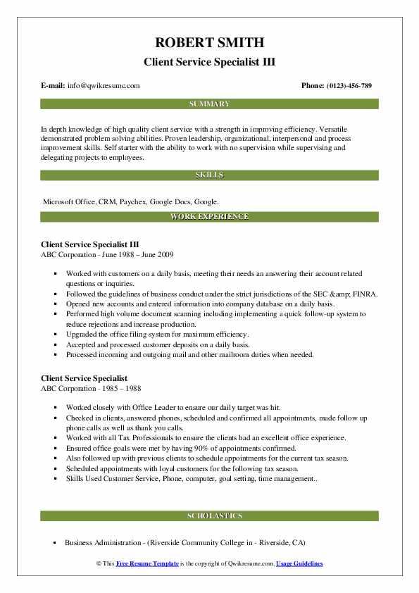 Client Service Specialist III Resume Model
